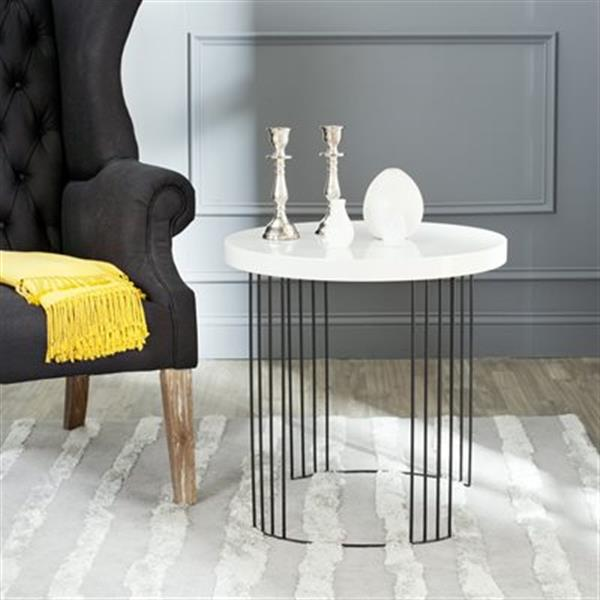 Safavieh Kelly 21.7-in White Lacquer Side Table
