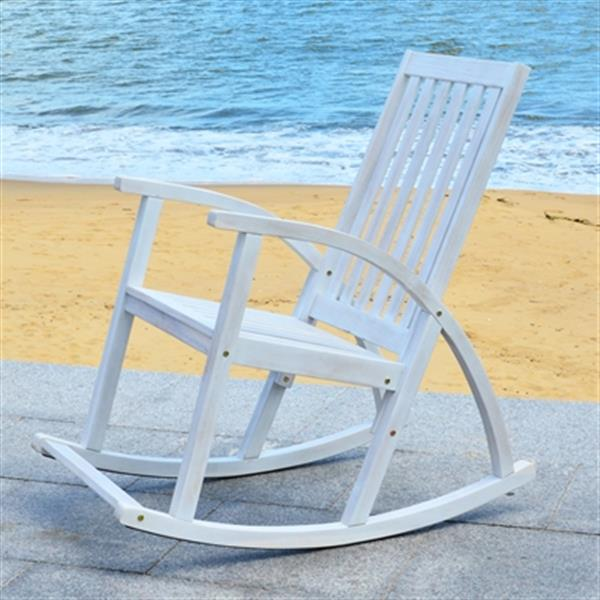 Safavieh 44.50-in x 26-in White Wash Clayton Rocking Chair