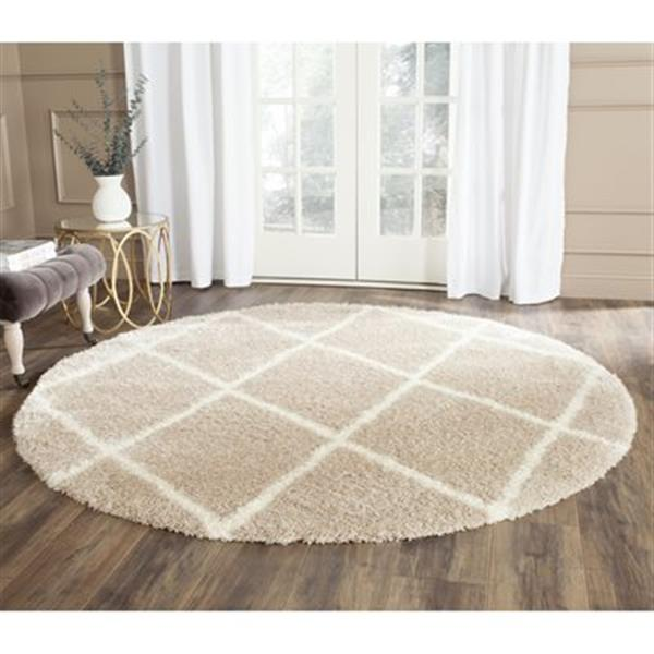 Safavieh Montreal Shag 7-ft Round Beige and Ivory Area Rug