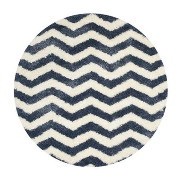 Safavieh Montreal Shag 7-ft Round Ivory and Blue Area Rug