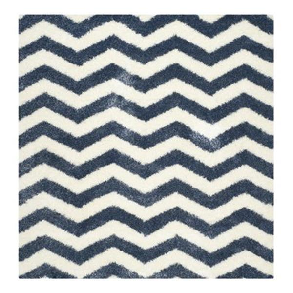 Safavieh Montreal Shag 7-ft Square Ivory and Blue Area Rug
