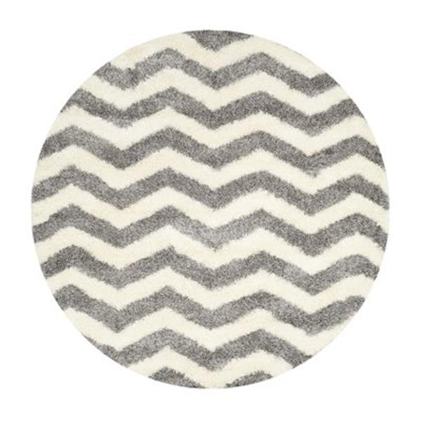 Safavieh Montreal Shag 7-ft Round Ivory and Grey Area Rug