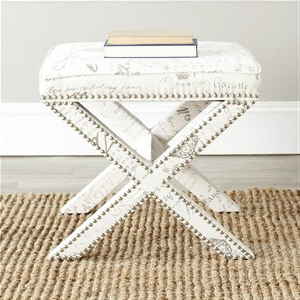 Safavieh Mercer Palmer 19.00-in x 21.50-in Eggshell Faux Leather Ottoman with French Writing