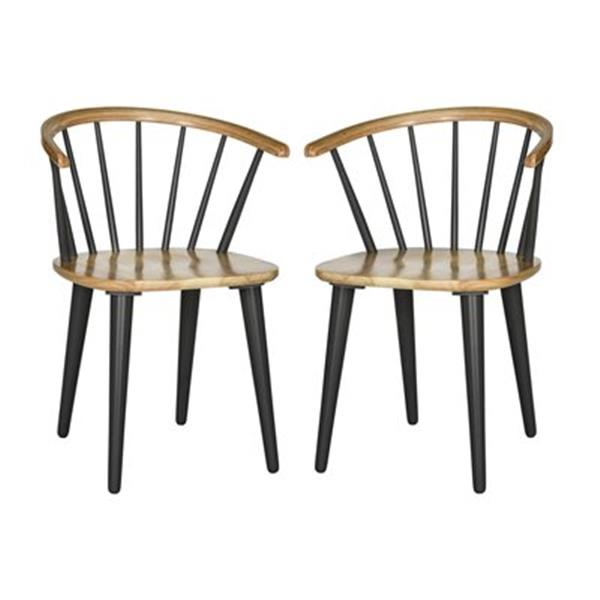 Safavieh American Home 29.9-in Natural/Grey Blanchard Side Chairs (Set of 2)