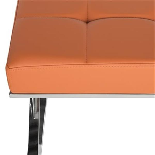 Safavieh Fox Micha 18.90-in x 25.20-in Orange Faux Leather Ottoman