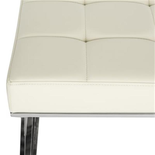 Safavieh Fox Micha 18.90-in x 25.20-in Creme Faux Leather Ottoman