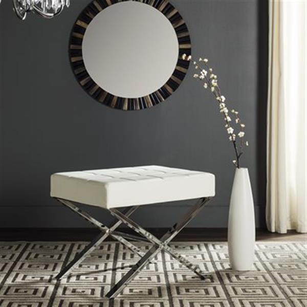 Safavieh Fox Sienna 19.80-in x 24.50-in White Faux Leather Ottoman