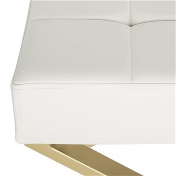 Safavieh Fox Badgley 19.80-in x 24.50-in White Faux Leather Ottoman