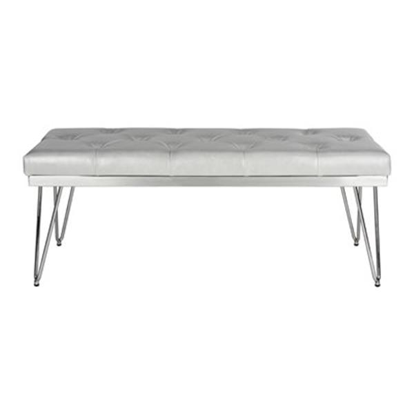 Safavieh Fox Marcella 18-in x 46.80-in Grey Faux Leather Bench