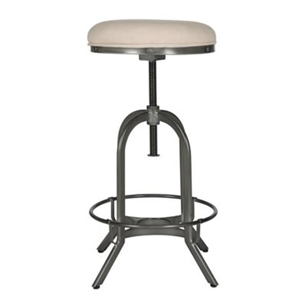 Safavieh Fox Upholstered Wildomar 35-in Beige Linen/ Stainless Steel Stool