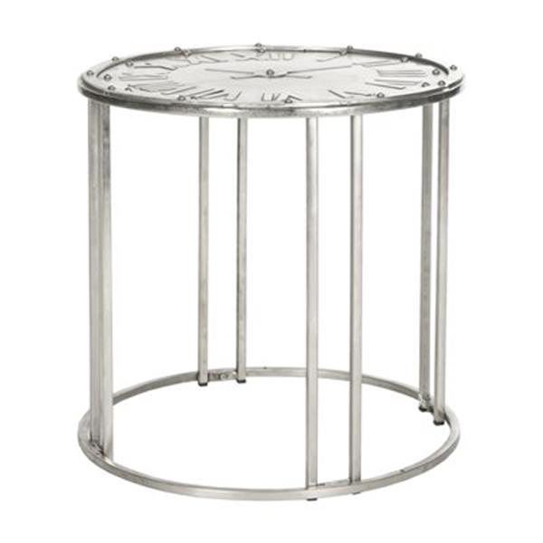 Safavieh Fox 24-in Silver Dark Antique Roman Clock End Table