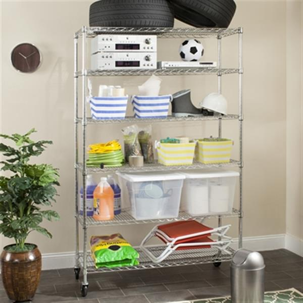 Safavieh Home Accents 75-in Chrome Alpha 6 Tier Wire Rack