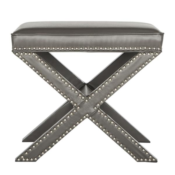 Safavieh Palmer 19.00-in x 21.50-in Gray Faux Leather Ottoman