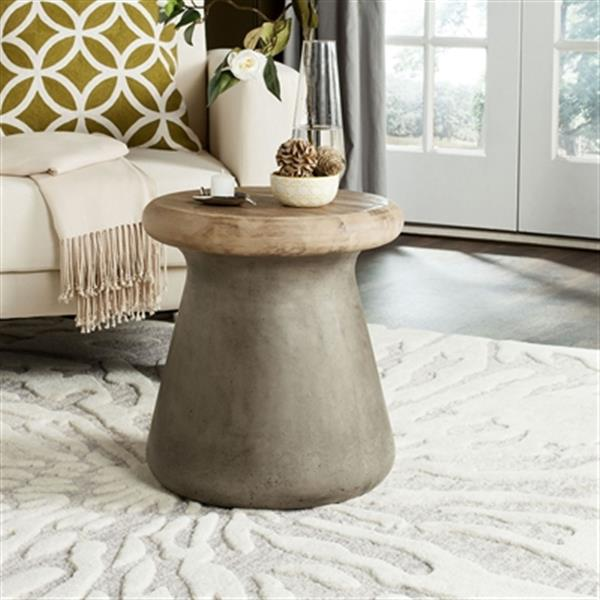 Safavieh 18.10-in Dark Grey Button Concrete Outdoor Accent Table
