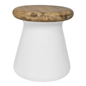Safavieh 18.10-in Ivory Button Concrete Outdoor Accent Table