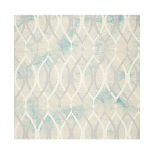 Safavieh Dip Dye 7-ft Square Hand-Tufted Wool Green and Ivory Grey Area Rug