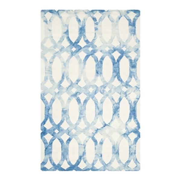 Safavieh Dip Dye Area Rug - 5' x 8' Hand-Tufted Wool - Ivory/Blue
