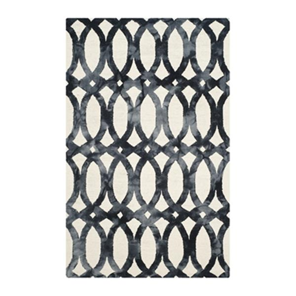 Safavieh Dip Dye 5-ft x 8-ft Hand-Tufted Wool Ivory and Graphite Area Rug