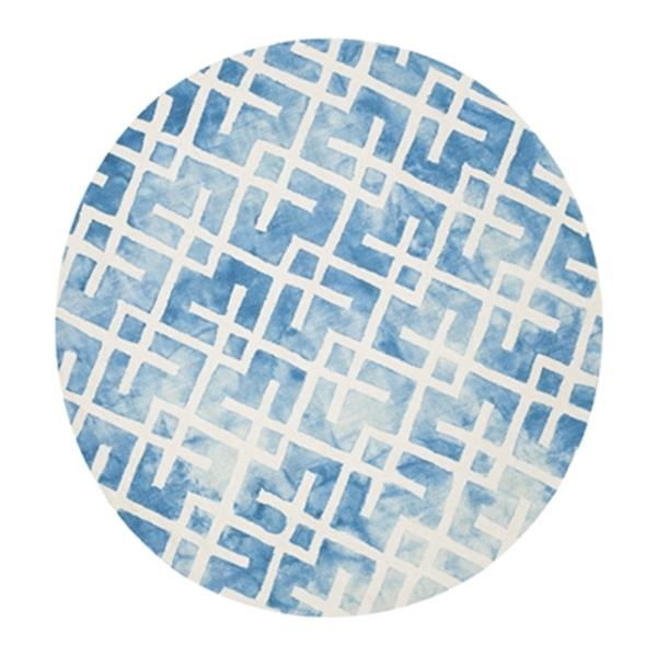 Safavieh Dip Dye 7-ft Square Hand-Tufted Wool Blue and Ivory Area Rug