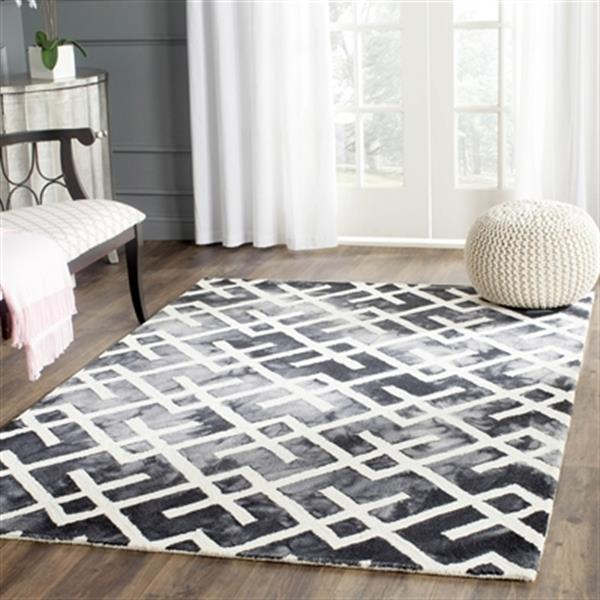 Safavieh Dip Dye 5-ft x 8-ft Hand-Tufted Wool Graphite and Ivory Area Rug