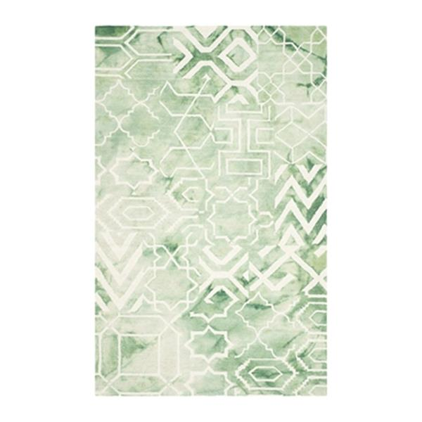 Safavieh Dip Dye 5-ft x 8-ft Hand-Tufted Wood Green and Ivory Area Rug