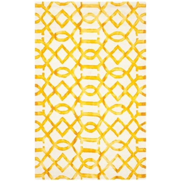 Safavieh Dip Dye 5-ft x 8-ft Hand Tufted Wool Ivory and Gold Area Rug