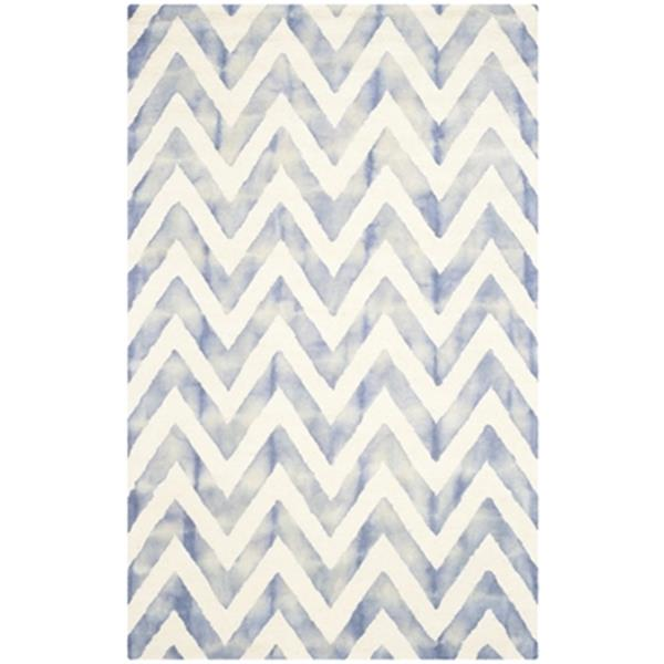 Safavieh Dip Dye 5-ft x 8-ft Hand-Tufted Wool Ivory and Blue Area Rug