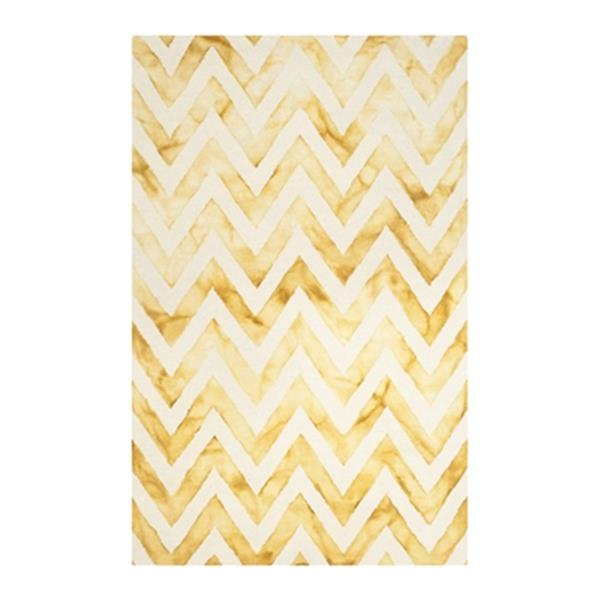Safavieh Dip Dye 5-ft x 8-ft Hand-Tufted Wool Ivory and Gold Area Rug