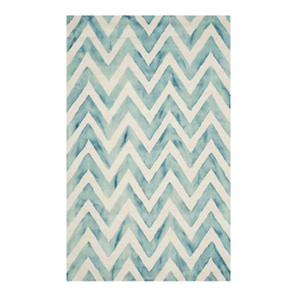 Safavieh Dip Dye 5-ft x 8-ft Hand-Tufted Wool Ivory and Turquoise Area Rug