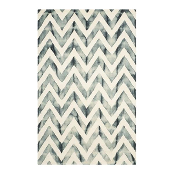 Safavieh Dip Dye 5-ft x 8-ft Hand-Tufted Wool Ivory and Grey Area Rug