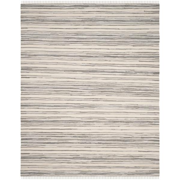 Safavieh Rag Rug 8-ft x 10-ft Cotton Ivory and Grey Indoor Area Rug