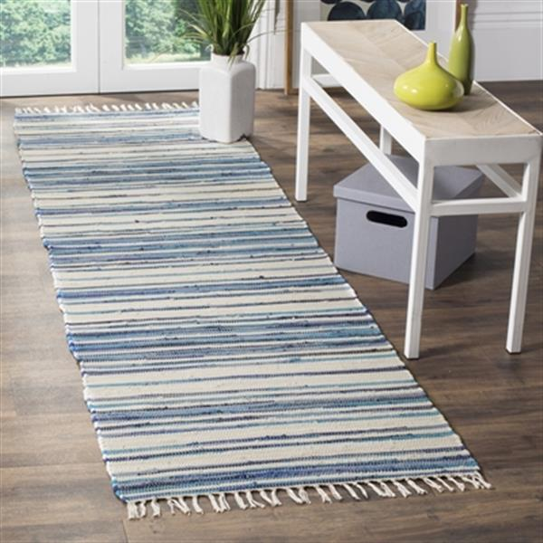 Safavieh Rag Rug 8-ft x 10-ft Cotton Ivory and Blue Indoor Area Rug