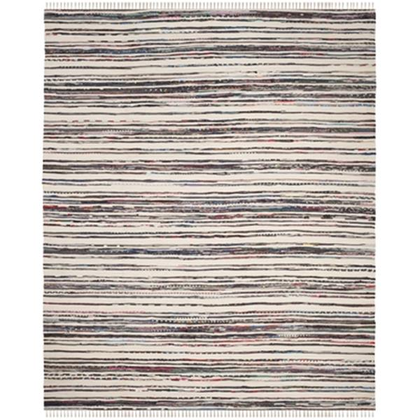 Safavieh Rag Rug 8-ft x 10-ft Cotton Ivory and Charcoal Indoor Area Rug