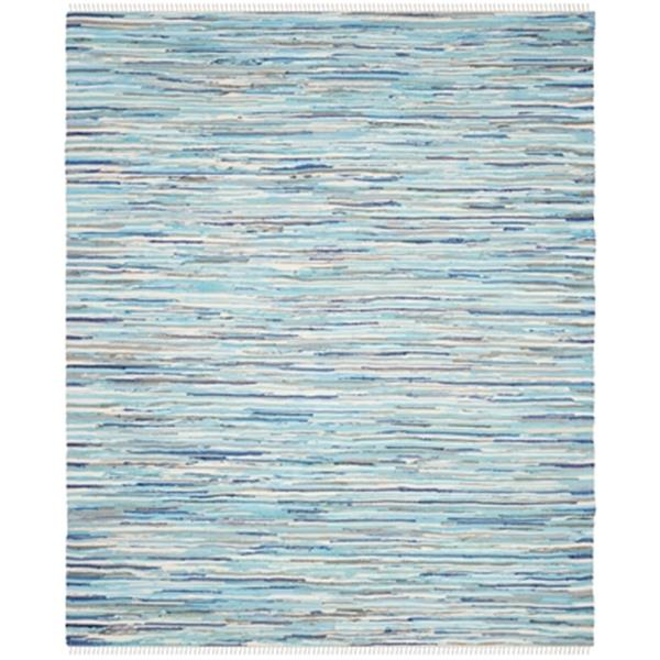 Safavieh Rag Rug 8-ft x 10-ft Turquoise Blue Multicolor Rectangular Striped Woven Area Rug