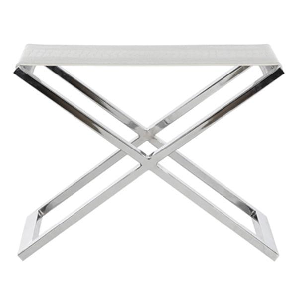 Safavieh Verdi 17.50-in x 24-in White Crocodile Bonded Leather Bench