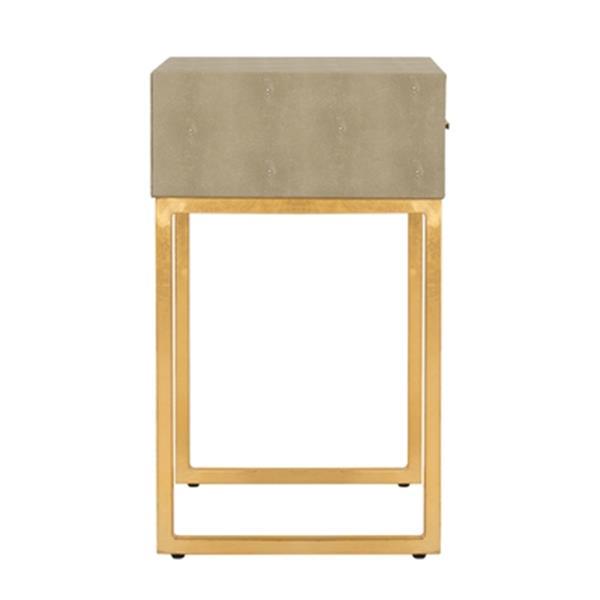 Safavieh Mori Shagreen 24-in Light Taupe Modern Side Table