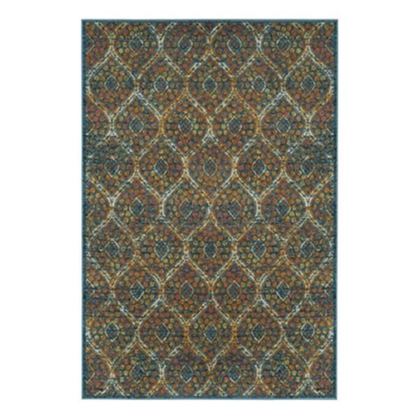 Safavieh Madison 8-ft x 10-ft Blue and Orange Indoor Rectangular Trellis Woven Area Rug