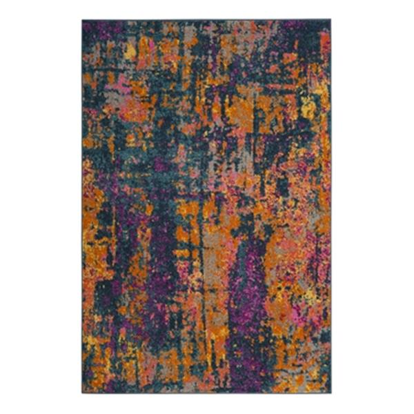 Safavieh Madison 8-ft x 10-ft Blue and Orange Indoor Rectangular Abstract Woven Area Rug