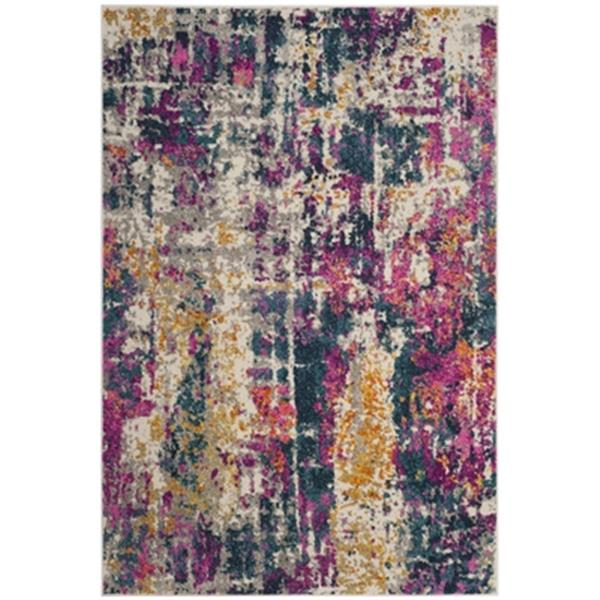 Safavieh Madison 8-ft x 10-ft Ivory and Blue Indoor Rectangular Abstract Woven Area Rug