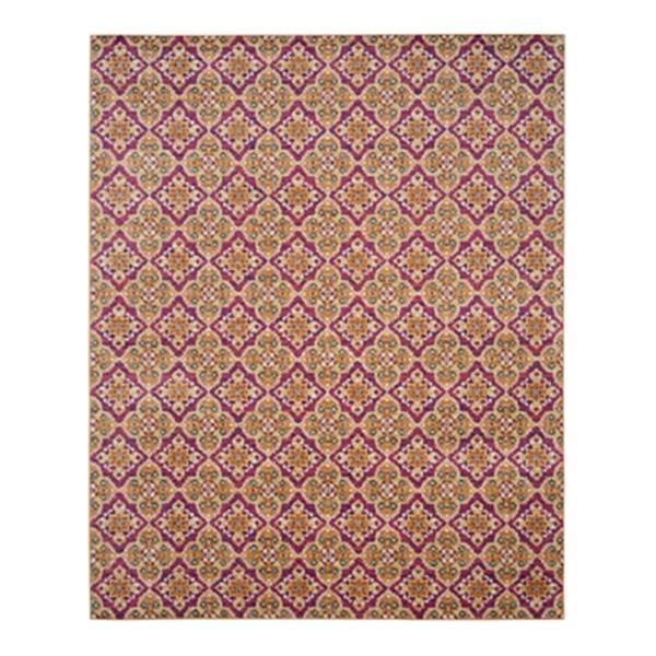 Safavieh Madison 8-ft x 10-ft Fuchsia and Gold Indoor Rectangular Geometric Woven Area Rug