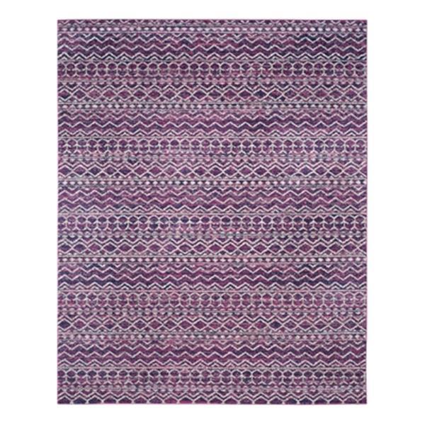 Safavieh Madison 8-ft x 10-ft Fuchsia and Navy Indoor Rectangular Stripe Woven Area Rug