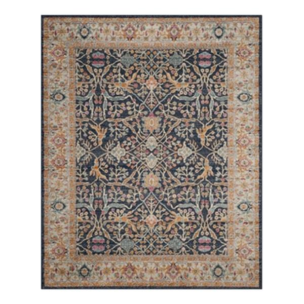 Safavieh Madison 8-ft x 10-ft Navy and Creme Indoor Rectangular Border Woven Area Rug