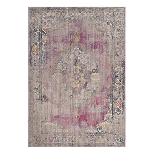Safavieh Bristol Fuchsia and Light Grey Area Rug, 7-ft Square