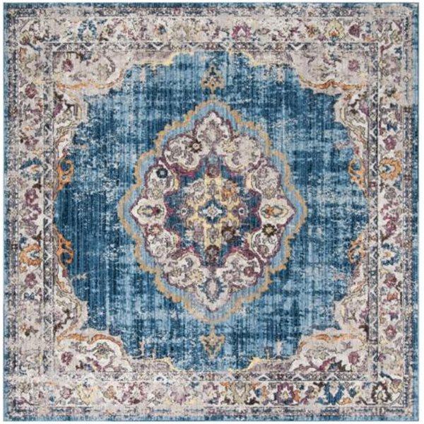 Safavieh Bristol Blue and Light Grey Area Rug, 7-ft Square