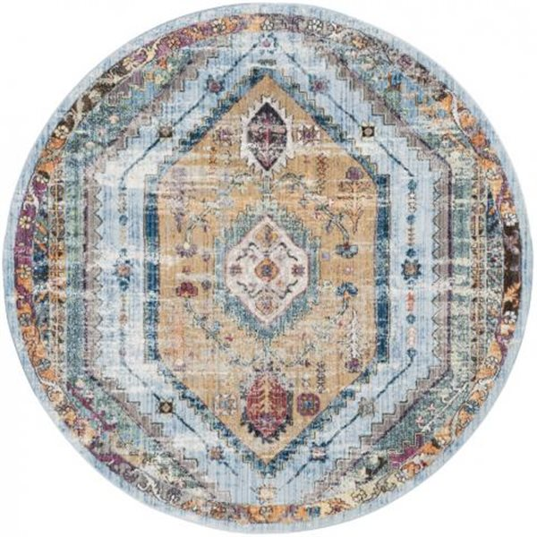 Safavieh Bristol Blue and Camel Area Rug, 7-ft Round