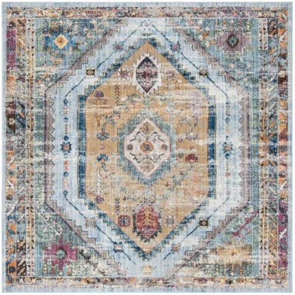 Safavieh Bristol Blue and Camel Area Rug, 7-ft Square