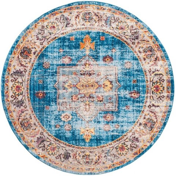 Safavieh Bristol Blue and Ivory Area Rug, 7-ft Round
