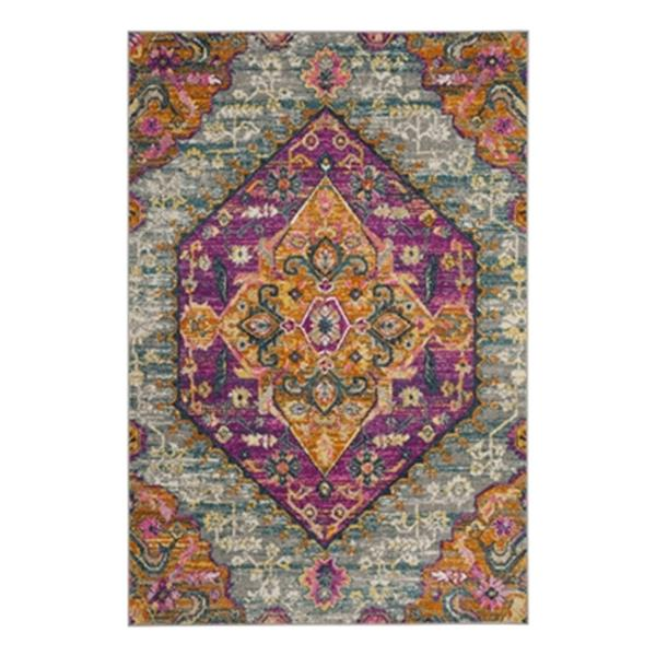 Safavieh Madison 120-in x 96-in Light Grey and Fuchsia Area Rug