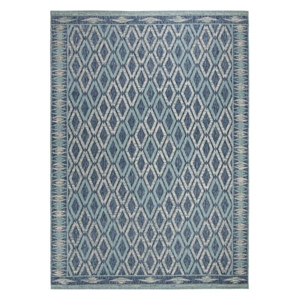 Safavieh Navy and Aqua Courtyard Indoor/Outdoor Rug,CY8531-3
