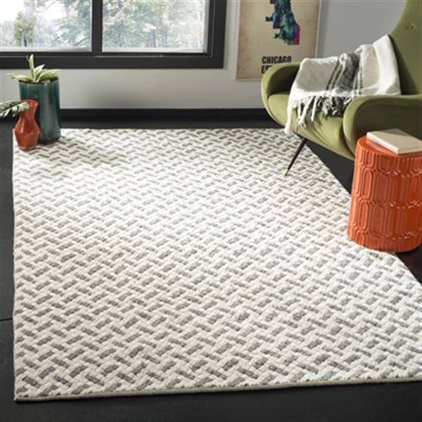 Safavieh Natura 5-ft x 8-ft Grey and Ivory Diagonal Lines Hand Tufted Area Rug